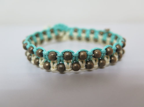 Daffodil and Seafoam Braided Bracelet with Bronze Beads