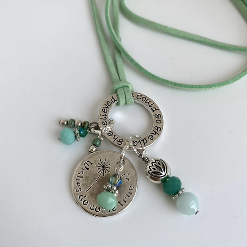 Oprah  necklace Silver Sea Green