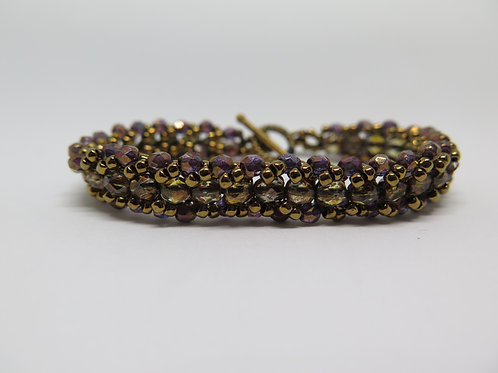 Bronze and Gold Beaded Bracelet
