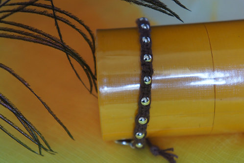 Brown Bracelet with Silver Beads