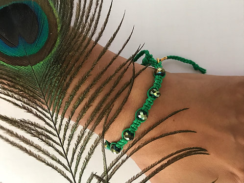 Green Braided Bracelet with Crystal Beads