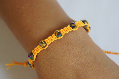 Tuscan Sun Braided Bracelet with Crystal Beads