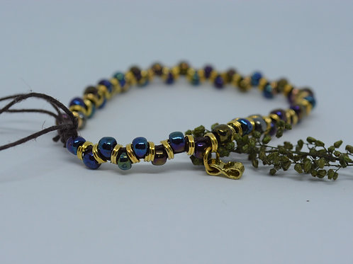Duo Beaded Bracelet with Gold Links