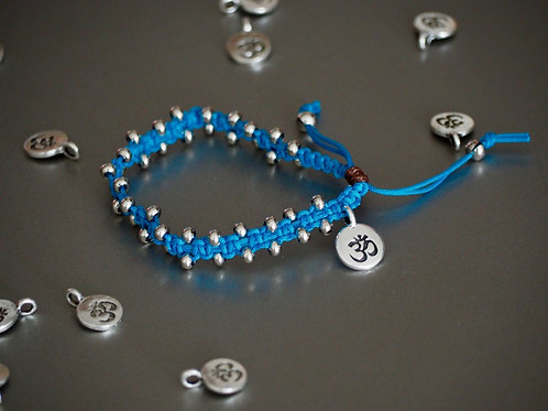 Blue Braided Bracelet with Silver Beads