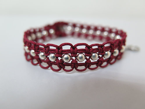 Garnet Braided Bracelet with Silver Beads