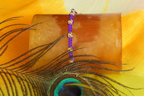 Purple Braided Bracelet with Gold Beads