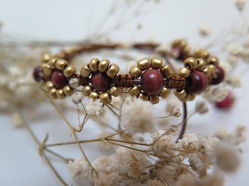 Brown & Gold Wooden Bead Bracelet