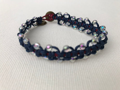 Blue Braided Bracelet with Crystal Beads