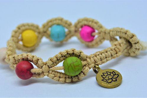 Rope Bracelet with Multicoloured Beads