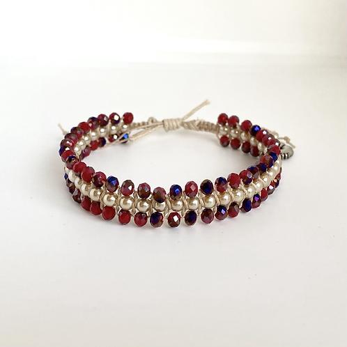 Red Violet beaded bracelet