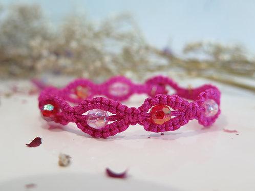 Magenta & Crystal Beads Bracelet