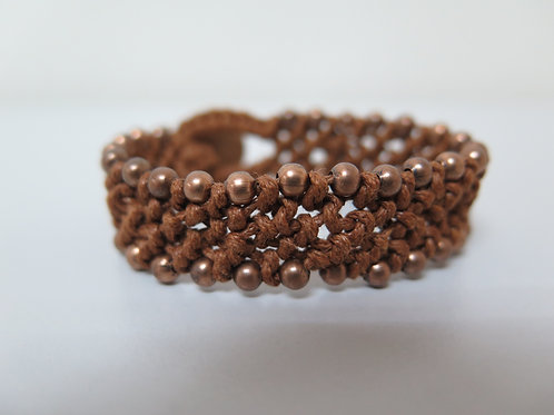 Amber Brown Braided Bracelet with Bronze Beads