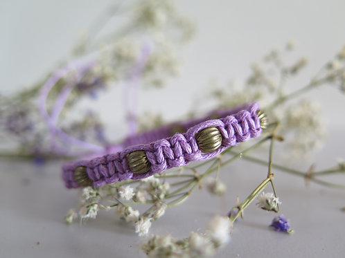 Lilac & Gold Beads Bracelet