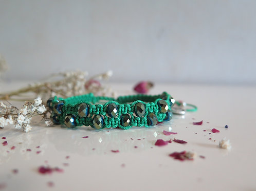 Green & Crystal Beads Double Layer Bracelet
