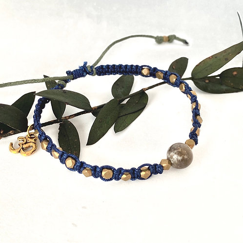 Midnight blue with brass beads