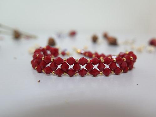 Red & Gold Beaded Bracelet