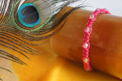 Hot Pink Bracelet with Crystal Beads