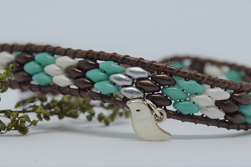 Turquoise,Silver and Brown Wrap Bracelet