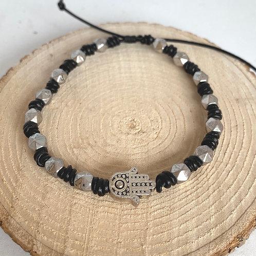 Ebony leather and silver bracelet