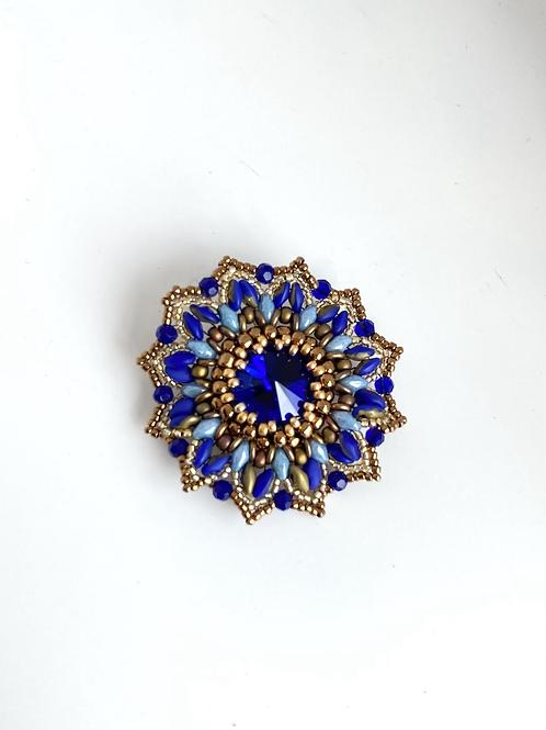 Gerbera brooch - blue