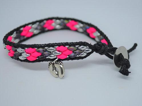 Neon Pink with Grey Beads Wrap Bracelet