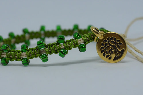 Forest Green Braided Bracelet with  Beads
