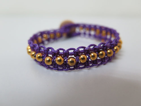 Violet Braided Bracelet with Gold Beads