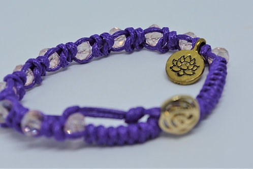 Purple Braided Bracelet with Pink Beads