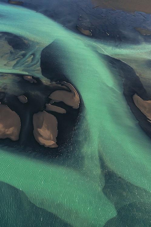 Rivière verte vue du ciel 5 Islande