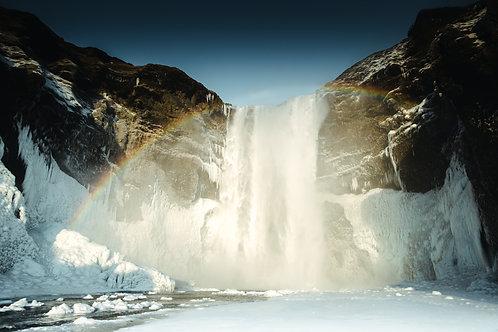Cascade Skogafoss arc en ciel Islande