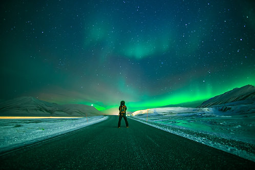 Aurore verte route Svalbard