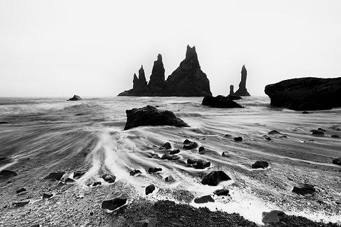 Plage noir et blanc Islande