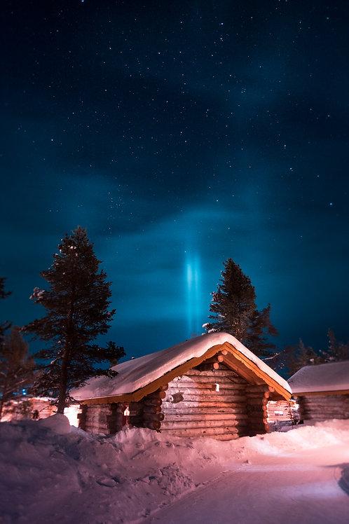 Cabane Laponie Aurore bleue