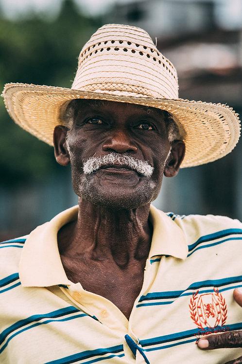 Portrait homme chapeau de paille Cuba