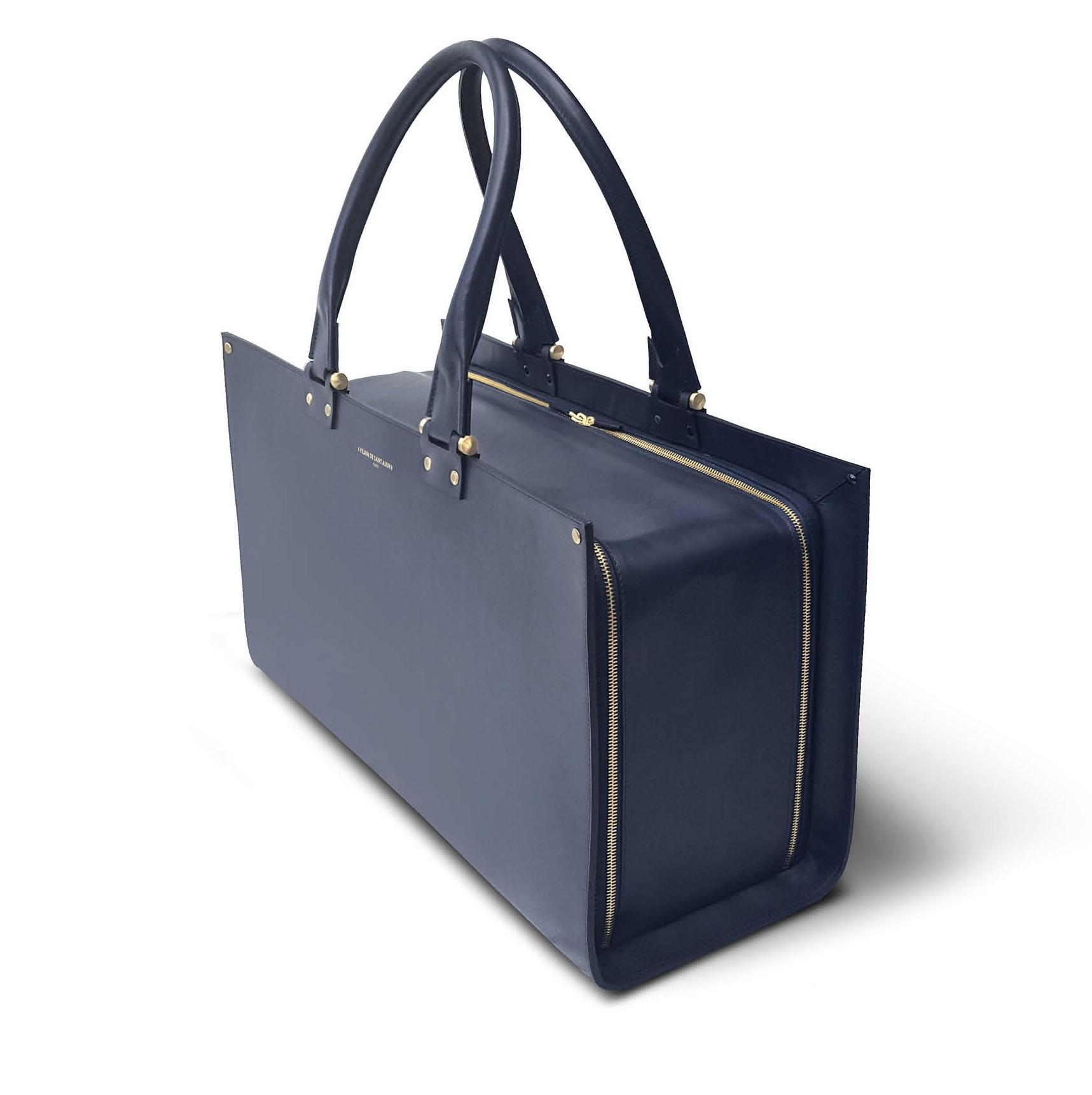 Gabin cuir bleu marine