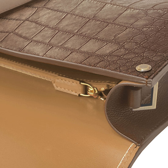 Balthazar en alligator marron/camel