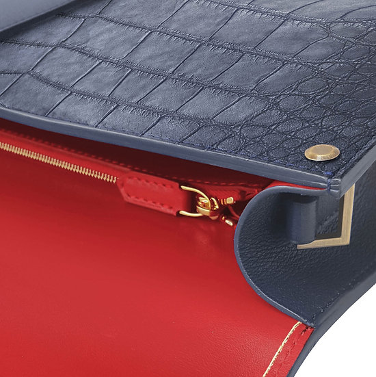 Balthazar en alligator bleu marine/rouge