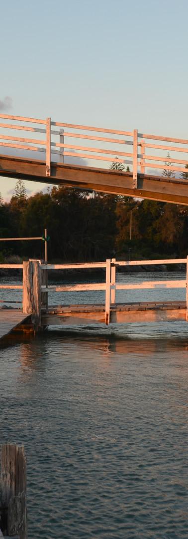 Existing footbridge at high tide