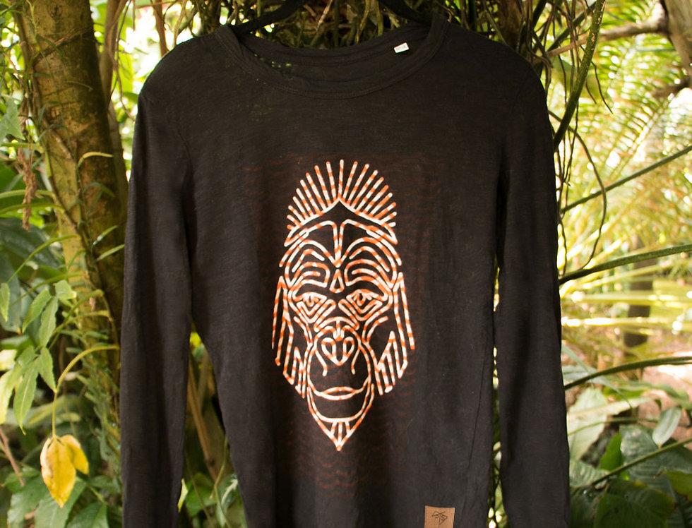 Handbedrucktes Damen Bio-Langarm Shirt Unikat