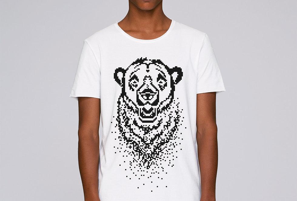 Bio Herren T-Shirt Pixel Bear black&white