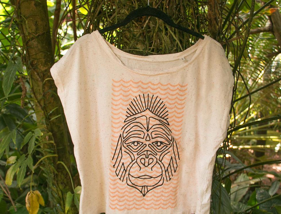 Handbedrucktes Damen Bio T-Shirt Unikat
