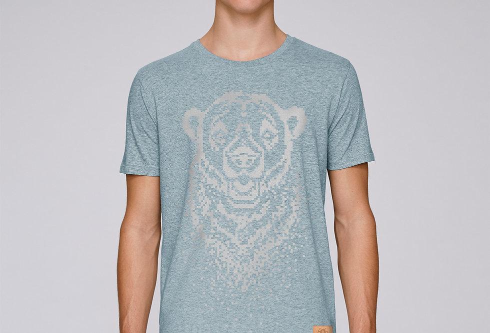 Bio Herren T-Shirt Pixel Bear iceblue