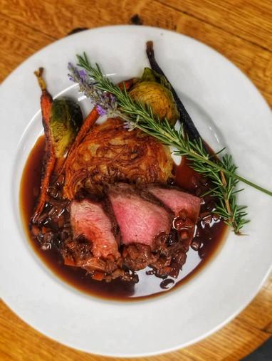 Steak dinner at Cass Winery