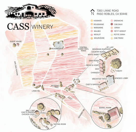 Cass Winery, map, overhead map, property map