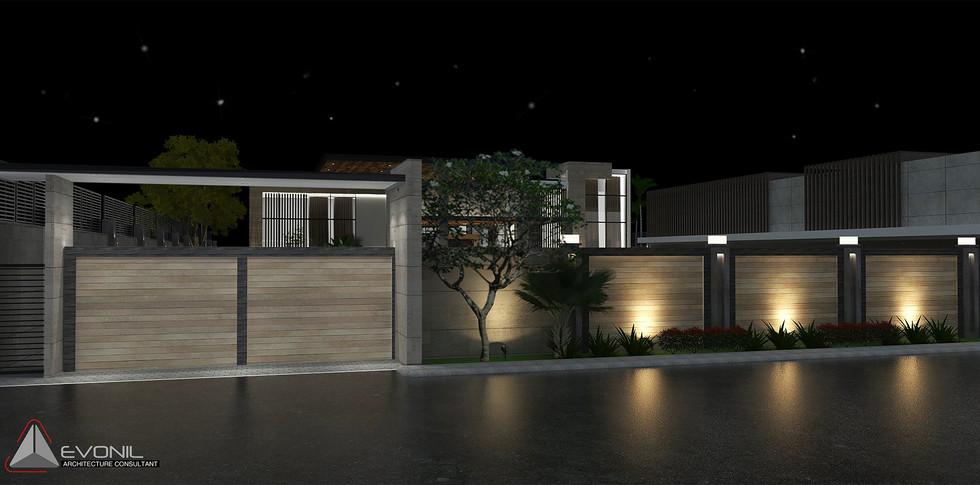 Evonil Architecture - Residence Pangkalan Bun - Entrance Gate (Night View)