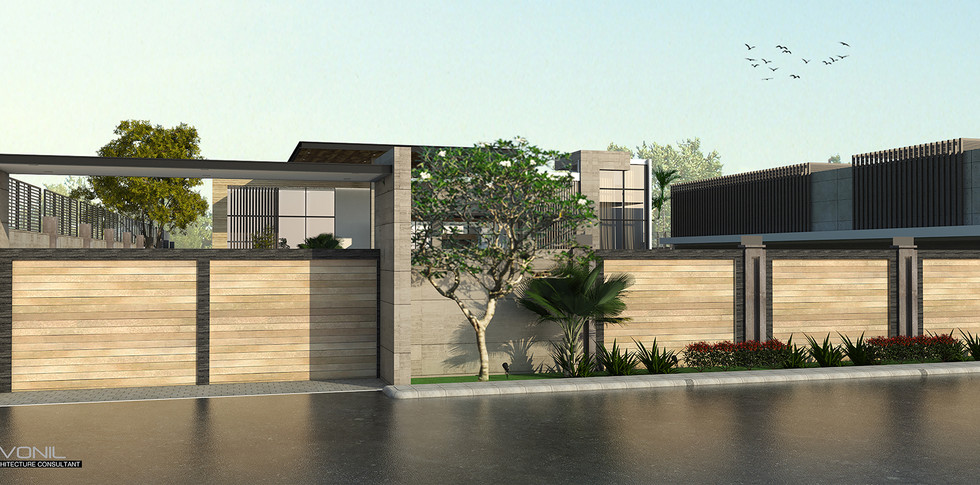 Evonil Architecture - Residence Pangkalan Bun - Entrance Gate (Day View)