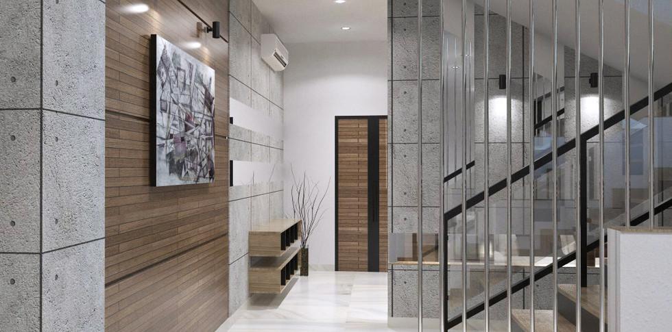 Evonil Architecture - Residence Pluit Timur - Dinding Koridor Pintu Utama