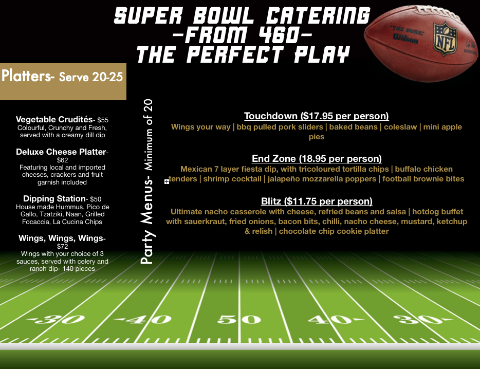 The Perfect Play- Catering to please you Super Bowl Fans, and ease your stress! Delicious, football themed food, delivered hot to your party