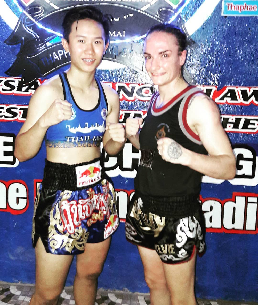 Thanonchanok Kaewsamrit on the left. The reigning 51kg WPMF Champion.
