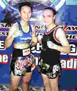 Thanonchanok Kaewsamrit on the left. The reigning 51kg WPMF Champion.